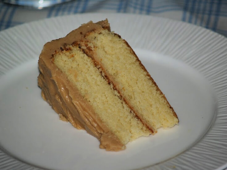 Two Layer Basic Yellow Cake with Caramel Frosting