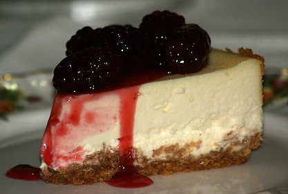 Italian Cheesecake Topped with Fresh Blackberry Topping