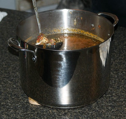 large pot seafood gumbo