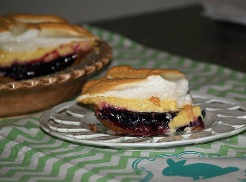 Piece of Lemon  Blueberry Meringue Pie