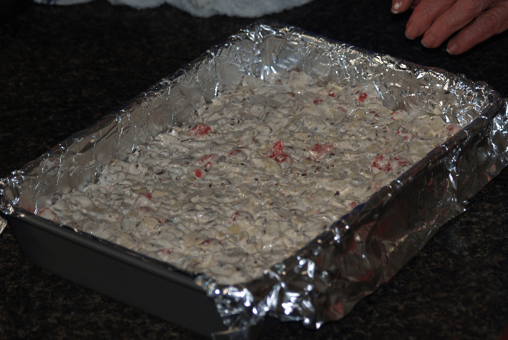Candy Mixture Poured into Prepared Pan