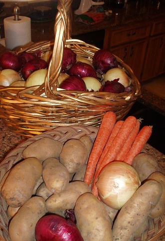 potatoes, carrots, onions