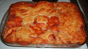 Peach Cobbler the cooking term for cobbler is a fruit pie made with a biscuit dough