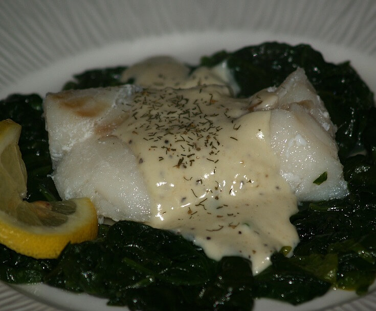 Poached Cod and Spinach with a Mustard Sauce
