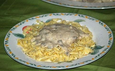 Salisbury Steak Recipe served with Noodles