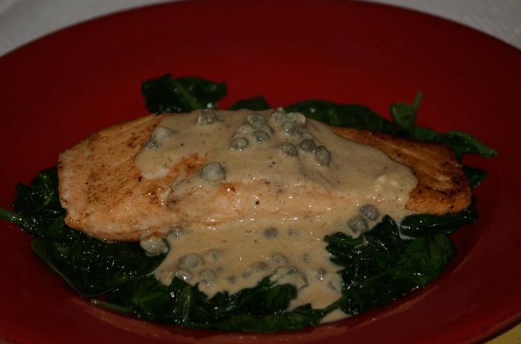 Salmon with Mustard Caper Sauce