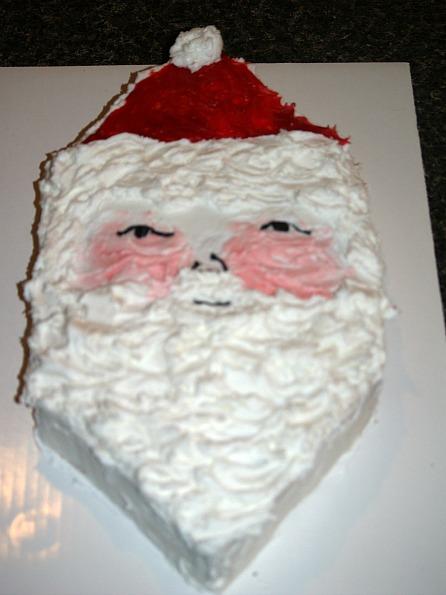 santa clause cake made from a jam cake recipe