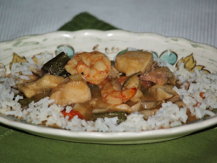 Southern Seafood Gumbo Served with Rice