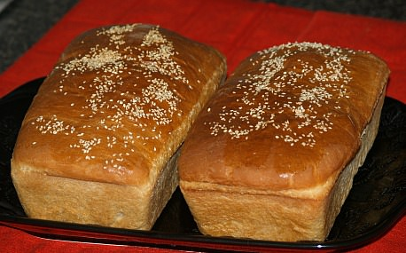 Two Loaves of Sesame Topped Egg Bread