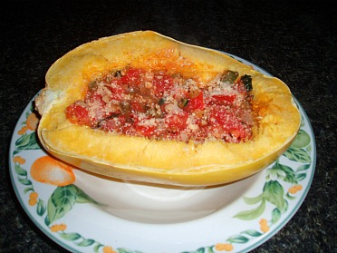 Baked Spaghetti Squash with Vegetable Topping