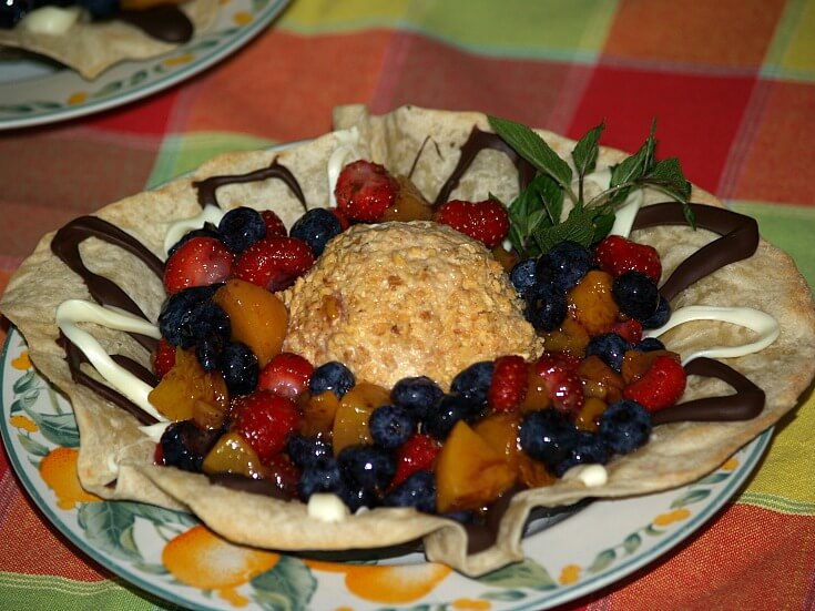 Baked Tortilla Bowl with Ice Cream and Fruit