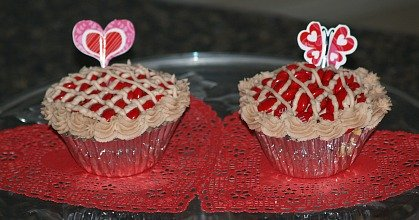 White Basic Cupcake Recipe Decorated for Valentine's Day