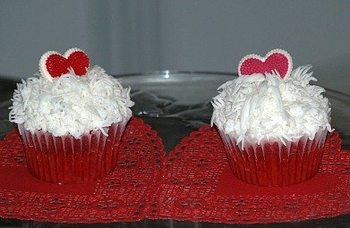 Red Velvet Cupcakes Decorated for Valentine's Day