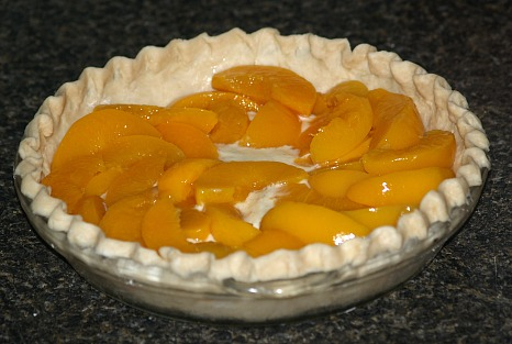 Yogurt Filling Covered with Sliced Peaches